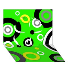 Florescent Green Yellow Abstract  Clover 3D Greeting Card (7x5)