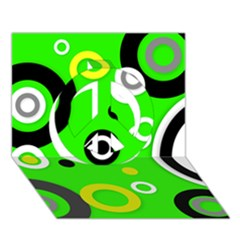 Florescent Green Yellow Abstract  Peace Sign 3d Greeting Card (7x5)