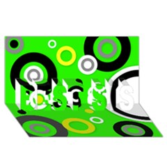 Florescent Green Yellow Abstract  Best Sis 3d Greeting Card (8x4)