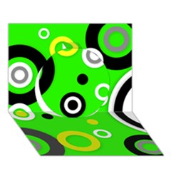 Florescent Green Yellow Abstract  Circle 3D Greeting Card (7x5)