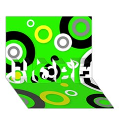Florescent Green Yellow Abstract  Hope 3d Greeting Card (7x5)