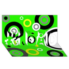Florescent Green Yellow Abstract  #1 DAD 3D Greeting Card (8x4)