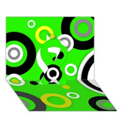 Florescent Green Yellow Abstract  Ribbon 3D Greeting Card (7x5)