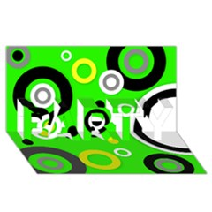 Florescent Green Yellow Abstract  Party 3d Greeting Card (8x4)