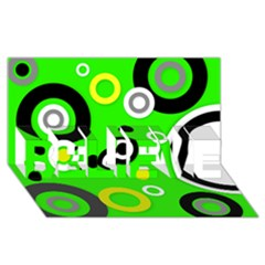 Florescent Green Yellow Abstract  Believe 3d Greeting Card (8x4)