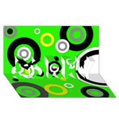 Florescent Green Yellow Abstract  Sorry 3d Greeting Card (8x4)