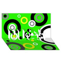 Florescent Green Yellow Abstract  Hugs 3d Greeting Card (8x4)