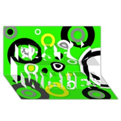 Florescent Green Yellow Abstract  Best Wish 3D Greeting Card (8x4)