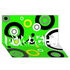 Florescent Green Yellow Abstract  ENGAGED 3D Greeting Card (8x4)