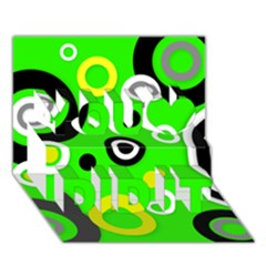 Florescent Green Yellow Abstract  You Did It 3D Greeting Card (7x5)