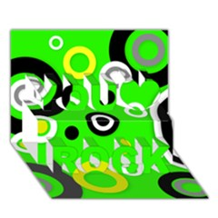 Florescent Green Yellow Abstract  You Rock 3D Greeting Card (7x5)