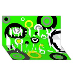 Florescent Green Yellow Abstract  Merry Xmas 3D Greeting Card (8x4)