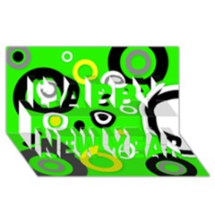 Florescent Green Yellow Abstract  Happy New Year 3d Greeting Card (8x4)