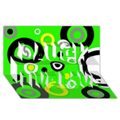 Florescent Green Yellow Abstract  Laugh Live Love 3d Greeting Card (8x4)