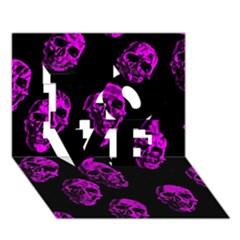 Purple Skulls  LOVE 3D Greeting Card (7x5)