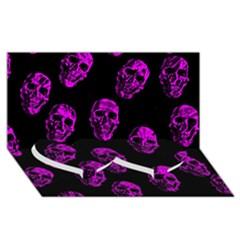 Purple Skulls  Twin Heart Bottom 3D Greeting Card (8x4)