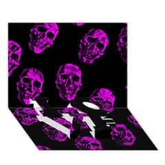 Purple Skulls  Love Bottom 3d Greeting Card (7x5)