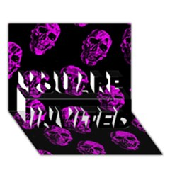 Purple Skulls  YOU ARE INVITED 3D Greeting Card (7x5)