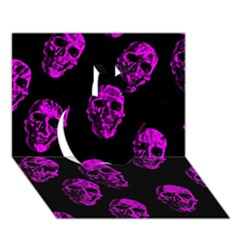 Purple Skulls  Apple 3d Greeting Card (7x5)