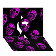 Purple Skulls  Ribbon 3D Greeting Card (7x5)