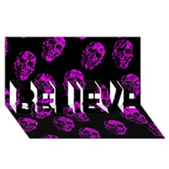 Purple Skulls  BELIEVE 3D Greeting Card (8x4)