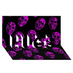 Purple Skulls  HUGS 3D Greeting Card (8x4)