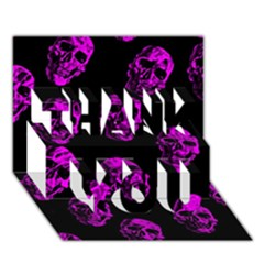 Purple Skulls  THANK YOU 3D Greeting Card (7x5)