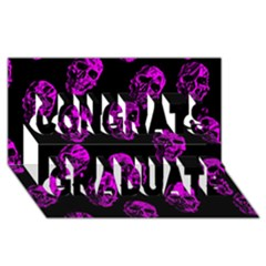 Purple Skulls  Congrats Graduate 3D Greeting Card (8x4)