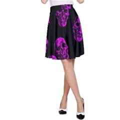 Purple Skulls  A-Line Skirts