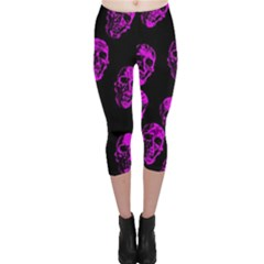 Purple Skulls  Capri Leggings