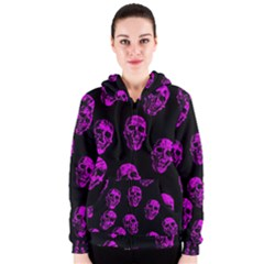 Purple Skulls  Women s Zipper Hoodies