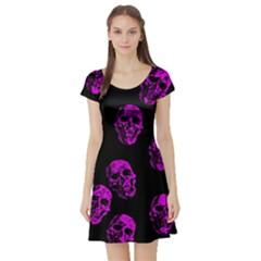 Purple Skulls  Short Sleeve Skater Dresses