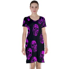 Purple Skulls  Short Sleeve Nightdresses