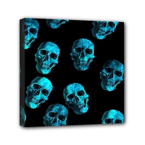 Skulls Blue Mini Canvas 6  X 6