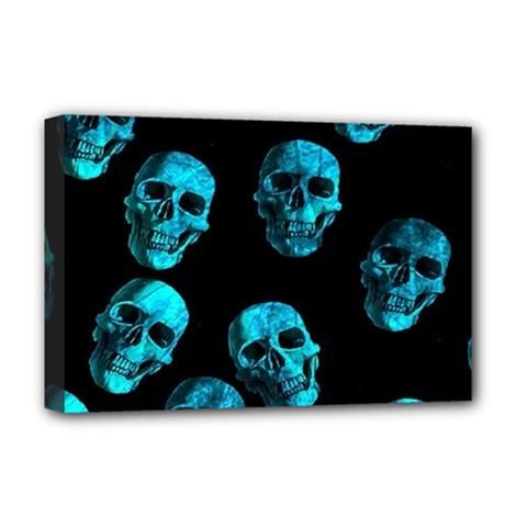 Skulls Blue Deluxe Canvas 18  X 12