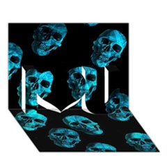 Skulls Blue I Love You 3d Greeting Card (7x5)