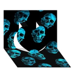 Skulls Blue Heart 3D Greeting Card (7x5)