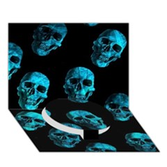 Skulls Blue Circle Bottom 3d Greeting Card (7x5)