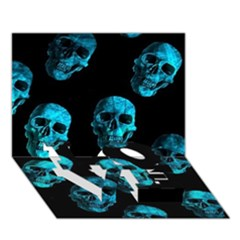 Skulls Blue LOVE Bottom 3D Greeting Card (7x5)
