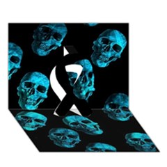 Skulls Blue Ribbon 3D Greeting Card (7x5)