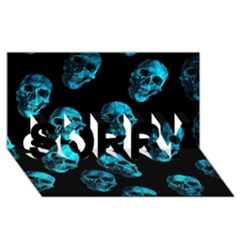 Skulls Blue SORRY 3D Greeting Card (8x4)