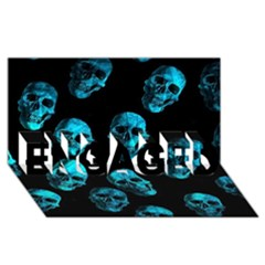 Skulls Blue Engaged 3d Greeting Card (8x4)