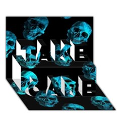 Skulls Blue TAKE CARE 3D Greeting Card (7x5)