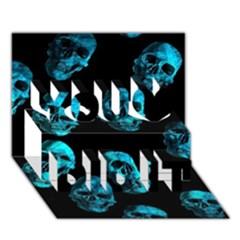 Skulls Blue You Did It 3D Greeting Card (7x5)
