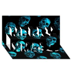 Skulls Blue Merry Xmas 3d Greeting Card (8x4)