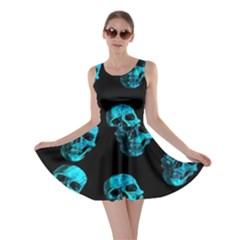 Skulls Blue Skater Dresses