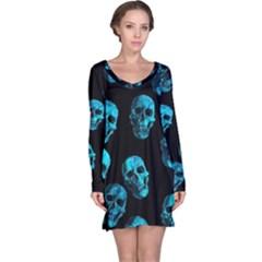 Skulls Blue Long Sleeve Nightdresses