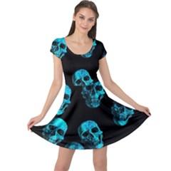 Skulls Blue Cap Sleeve Dresses