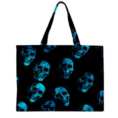 Skulls Blue Zipper Tiny Tote Bags