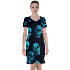 Skulls Blue Short Sleeve Nightdresses